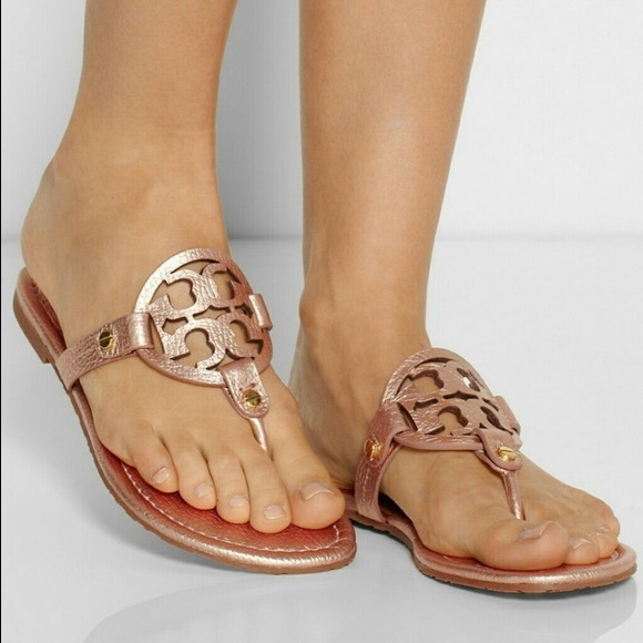 78dfb9976 RARE Rose Gold Tumbled Leather Miller Sandals. M_5b7892902aa96a2d3fb03c4c